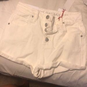 White super high rise shorts